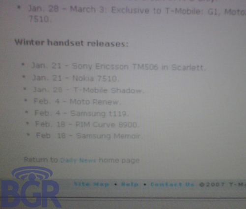 T-Mobile BlackBerry 8900 to be released mid-February?!