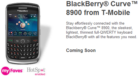 T-Mobile BlackBerry Curve 8900 now on T-Mobile.com