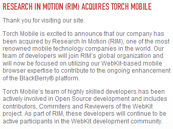 Torch Mobile Acquired by Research in Motion