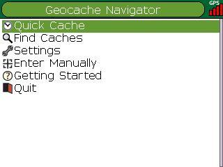 Geocache Navigator Main Menu