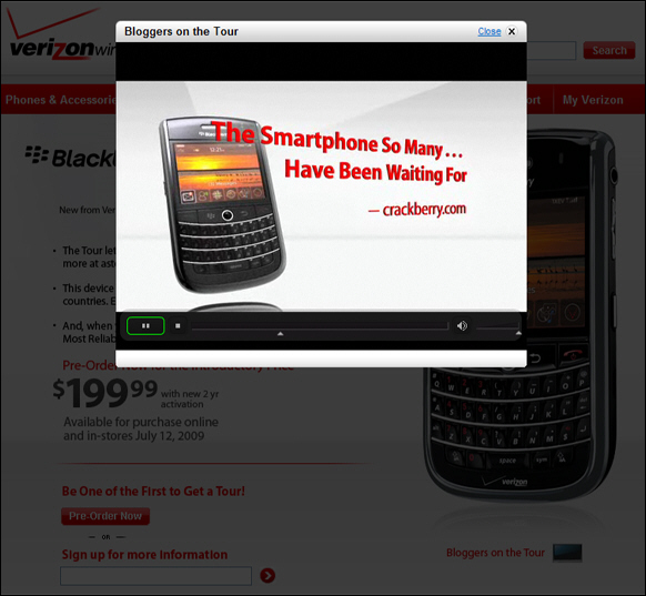 Verizon BlackBerry Tour 9630 Site Updated...