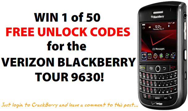 Win a Free Unlock Code for your BlackBerry Tour!
