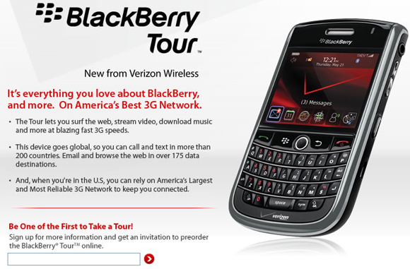 Verizon BlackBerry Tour 9630 Site Goes Live!
