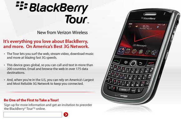 Verizon BlackBerry Tour 9630 Site Goes Live!