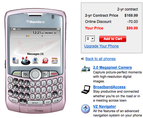 Pink Verizon Curve 8330