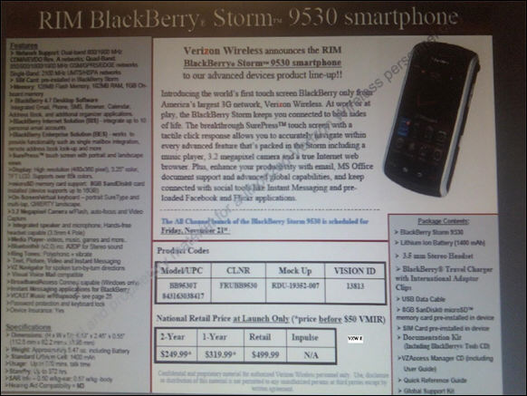 Verizon Storm Retail Price @ $499.99