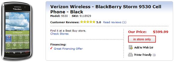 Best Buy Storm Pricing - $599.99