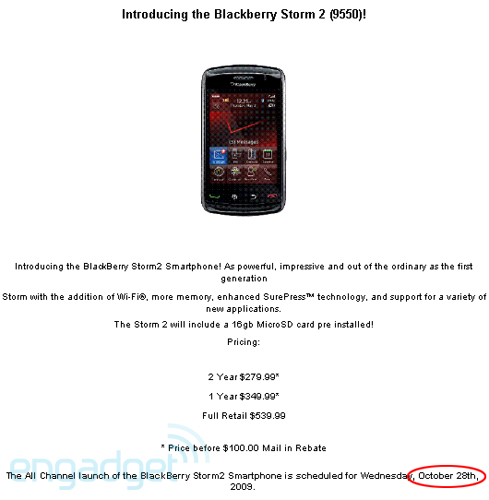 Verizon BlackBerry Storm2 Pricing