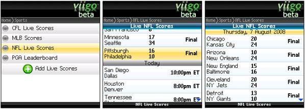 NFL Live Scores on Viigo!