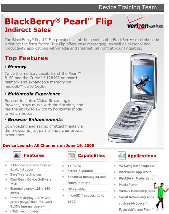 Verizon BlackBerry Pearl Flip 8230
