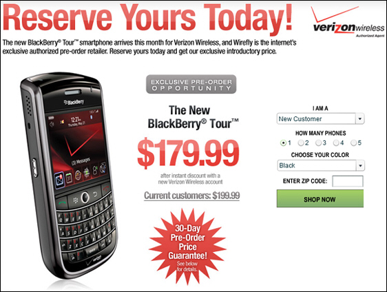 BlackBerry Tour Available from WireFly