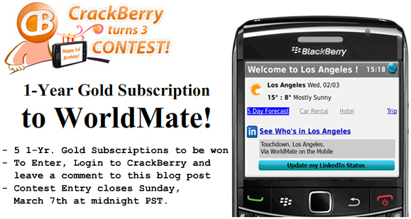 Win a 1-Year Subscription to WorldMate Gold!