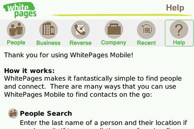 WhitePages Mobile for BlackBerry