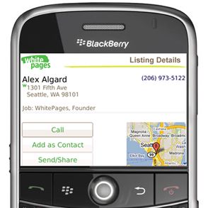 WhitePages Mobile for BlackBerry Smartphones