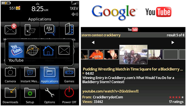 YouTube Client for the BlackBerry Storm