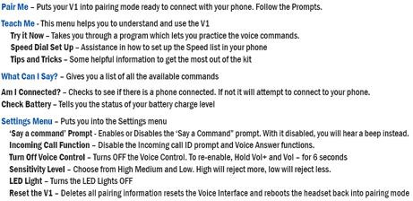 BlueAnt Commands