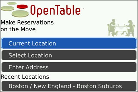 OpenTable Mobile for BlackBerry