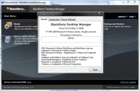 BlackBerry Desktop Manager 5.0.0.8