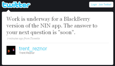 Nine Inch Nails App for BlackBerry