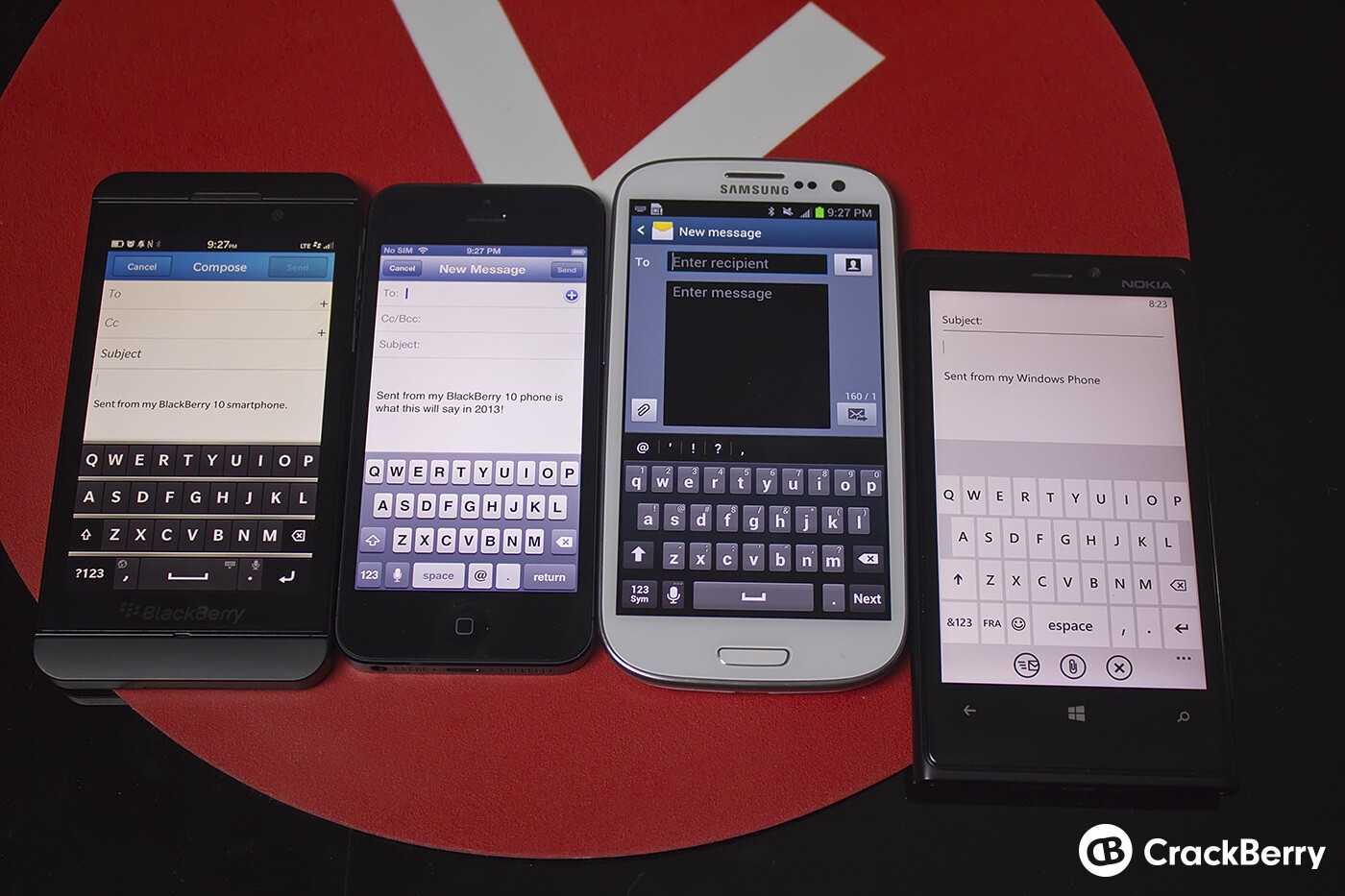 BlackBerry Z10 keyboard compared to iPhone 5, Samsung Galaxy S III, and Nokia Lumia 920 keyboards