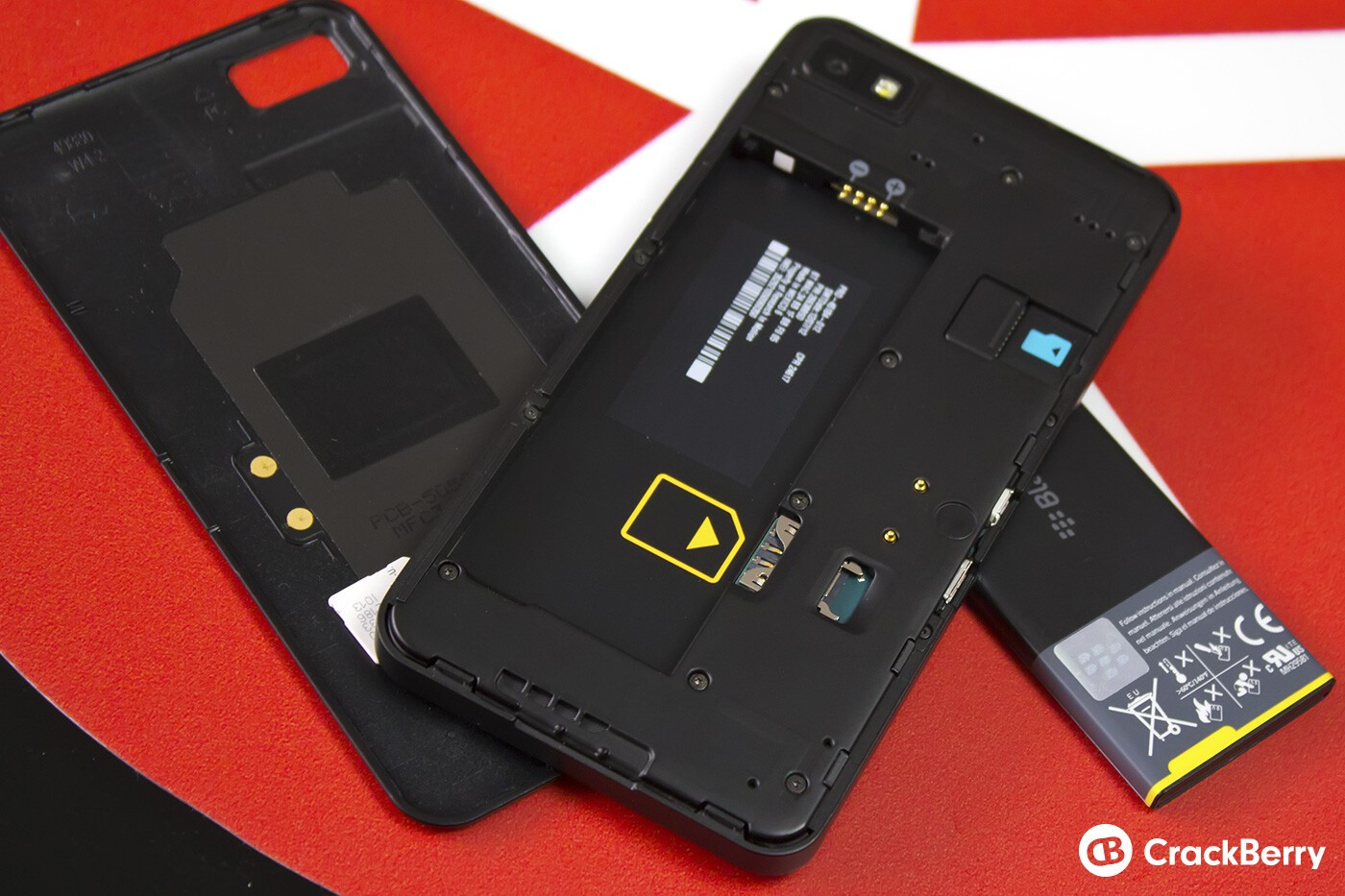 BlackBerry Z10 with battery removed