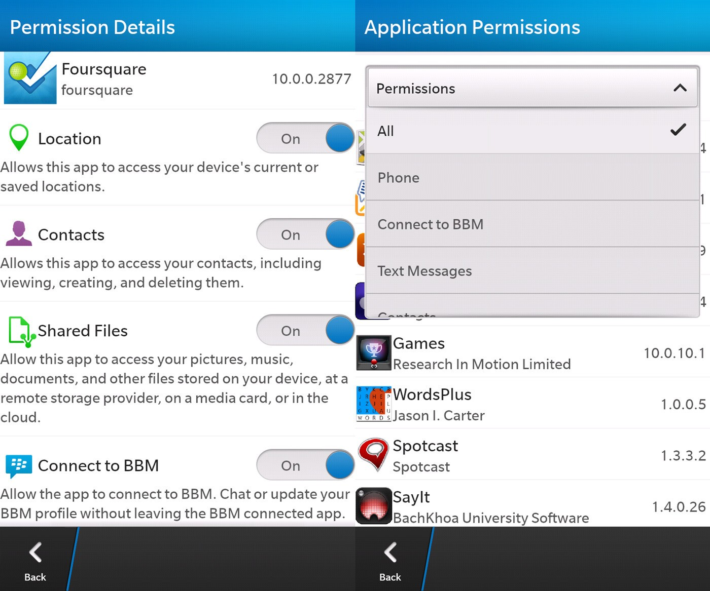 Permissions screens in BlackBerry 10