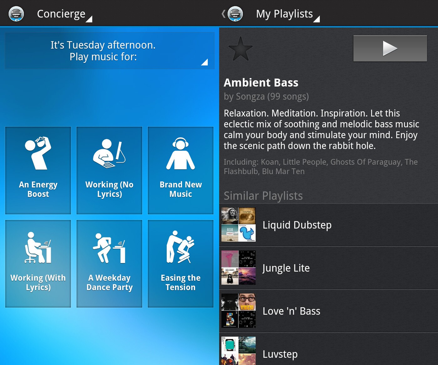 Songza for BlackBerry 10