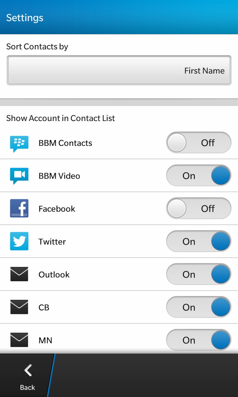 Contacts settings screen, this where you disable the Facebook slider.