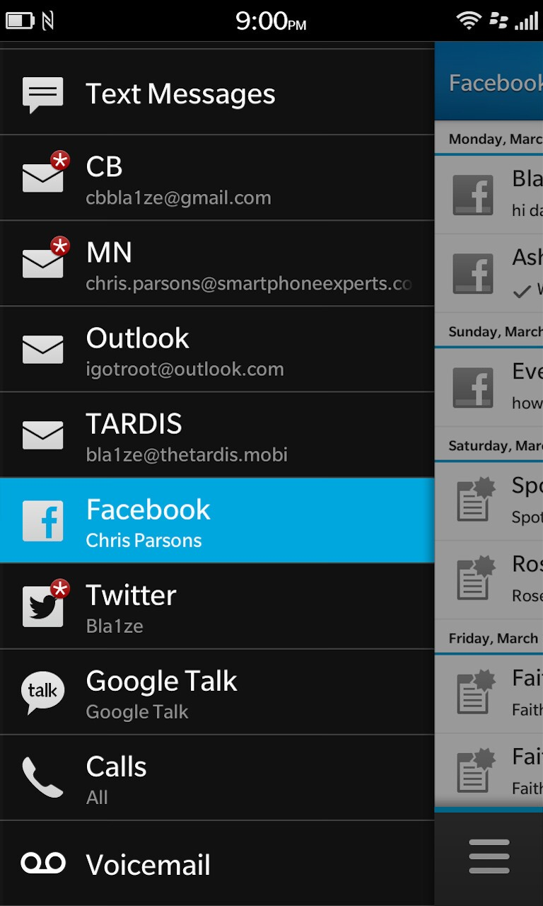 Verify that Facebook still remains in the BlackBerry Hub.