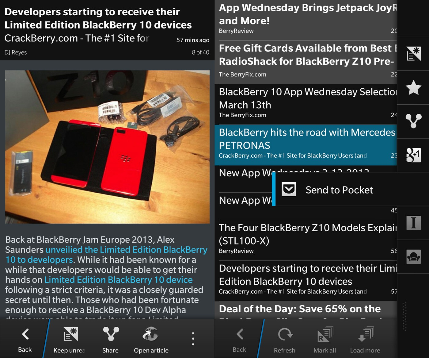 gNewsReader for BlackBerry