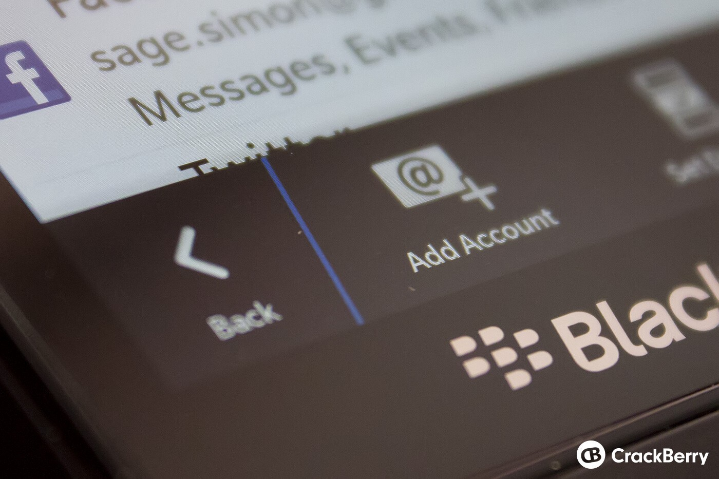 Adding accounts to BlackBerry Z10