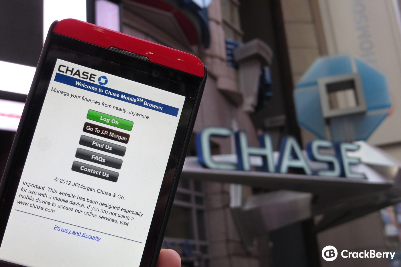 Chase Bank Will Cease Offering Their Blackberry Mobile Application