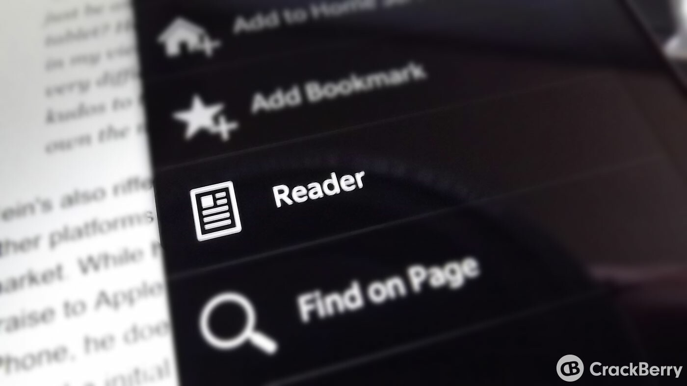 Reader mode on the BlackBerry 10 browser
