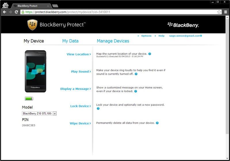 BlackBerry Protect on BlackBerry 10