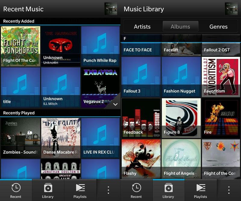 Music library for BlackBerry 10