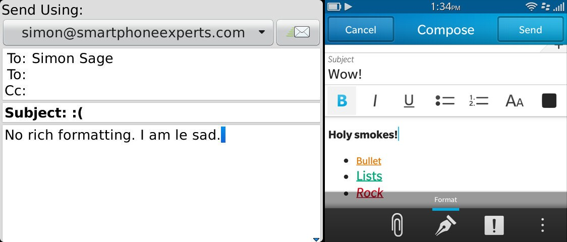 BlackBerry 7 and BlackBerry 10 rich text formatting