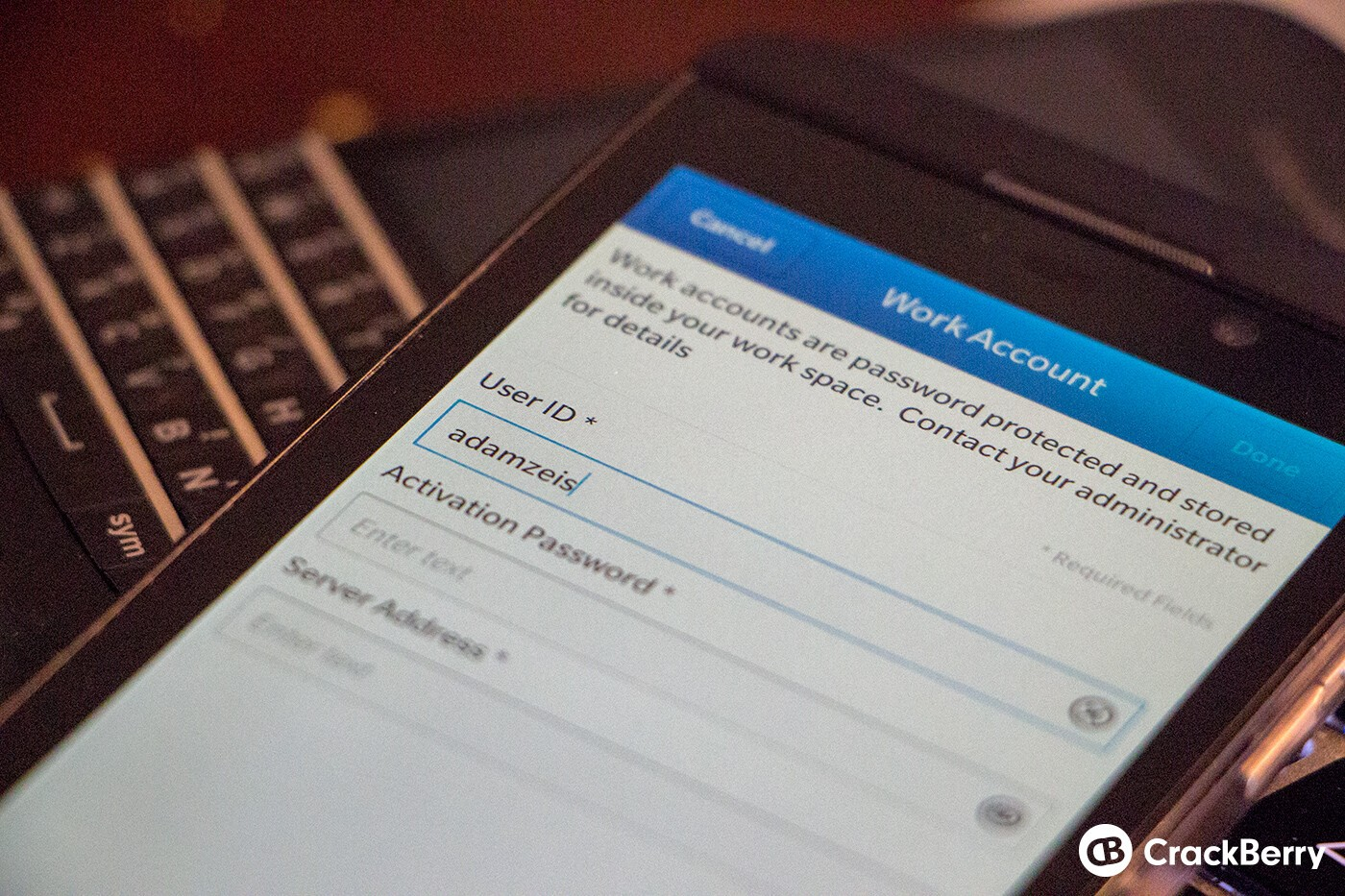 BES Work Account on a BlackBerry Z10