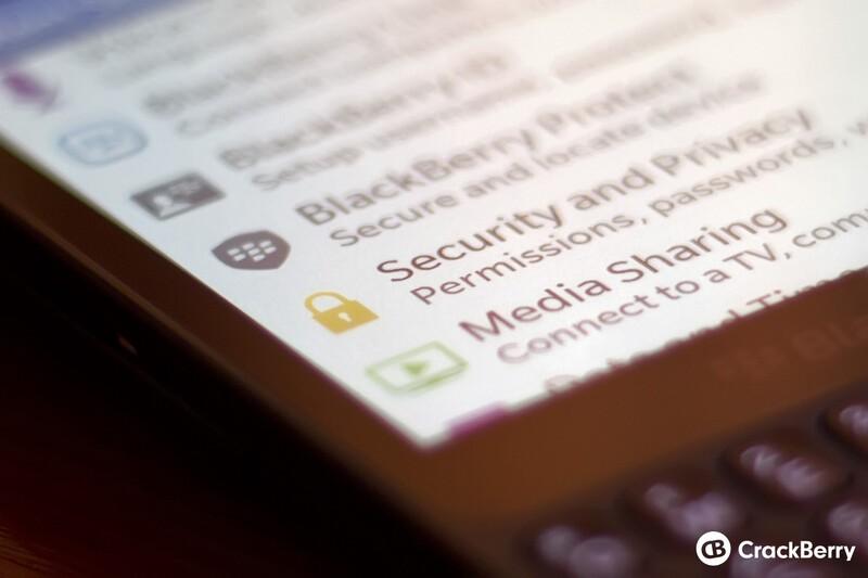 BlackBerry security settings
