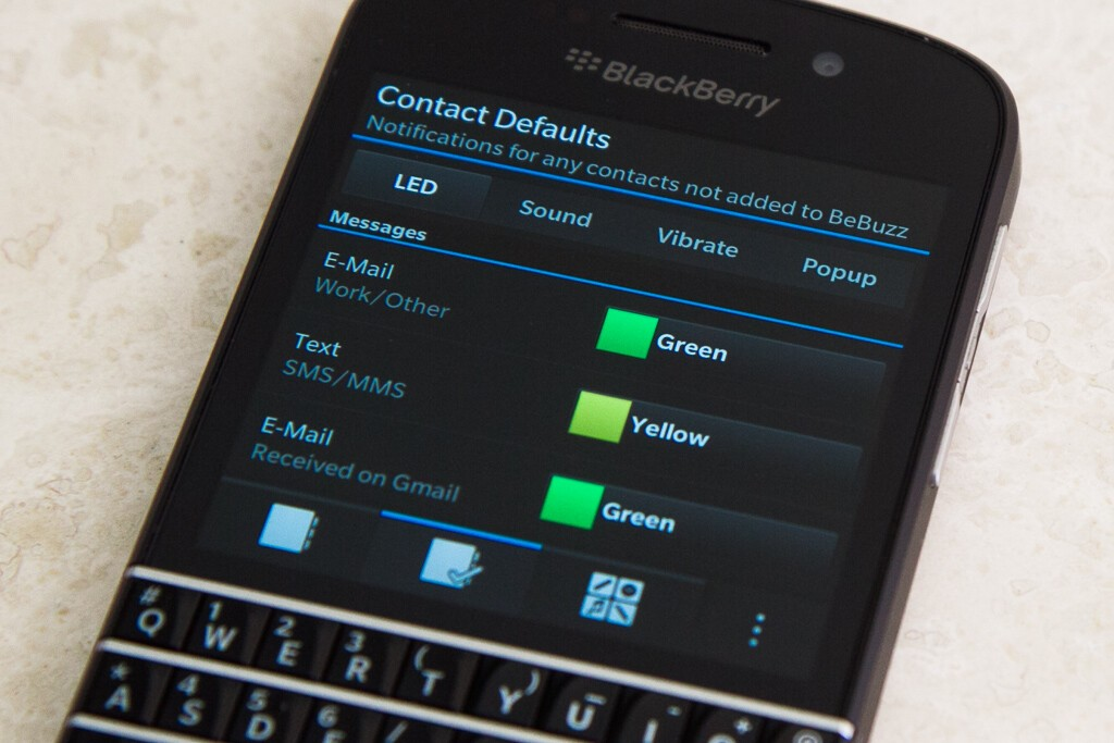 how to set custom text notification on bb keyone