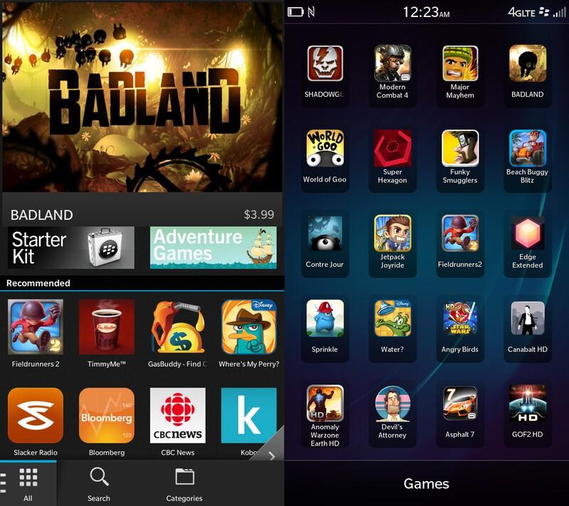 Apps on the BlackBerry Z30