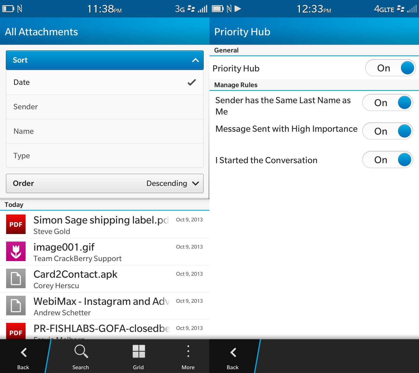 BlackBerry 10.2 attachment search and priority hub