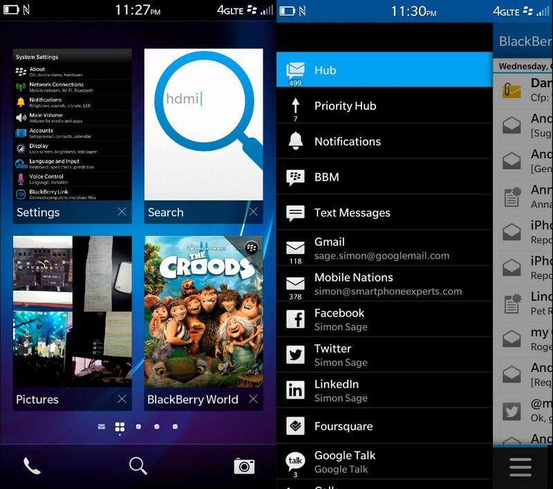 BlackBerry Z30 hub