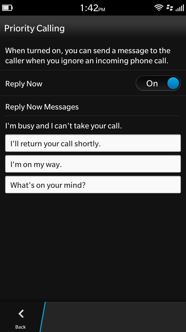 BlackBerry 10.2 priority calling