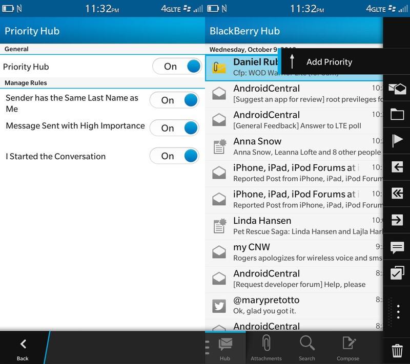 BlackBerry 10.2 priority hub