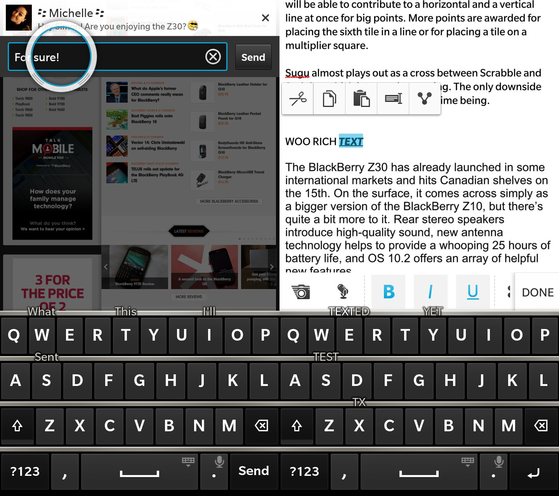 BlackBerry Z30 typing