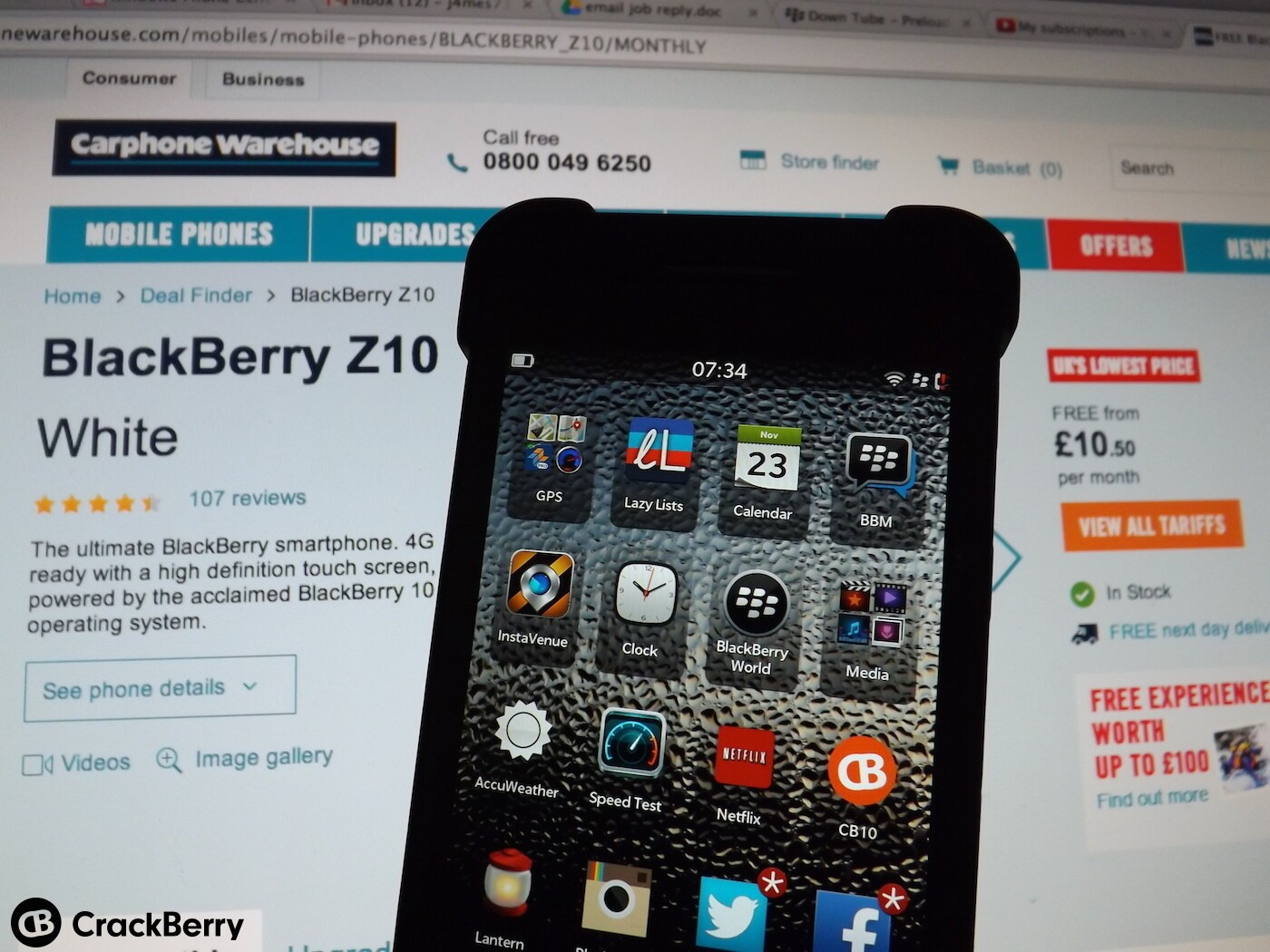 More blackberry z10 bargains from uk retailer carphone for Blackberry z10 carphone warehouse leak