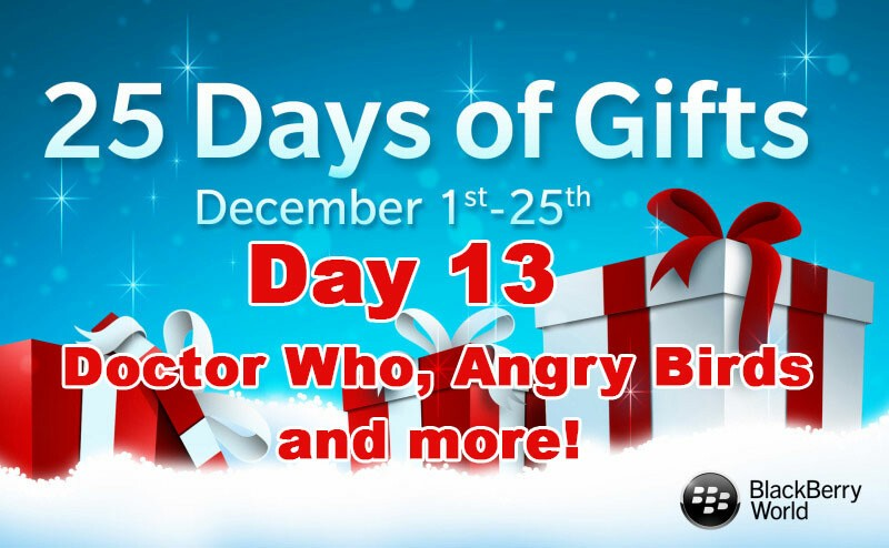 Doctor Who, Angry Birds: Space and more - Day 13 of BlackBerry's 25 Days of GIfts
