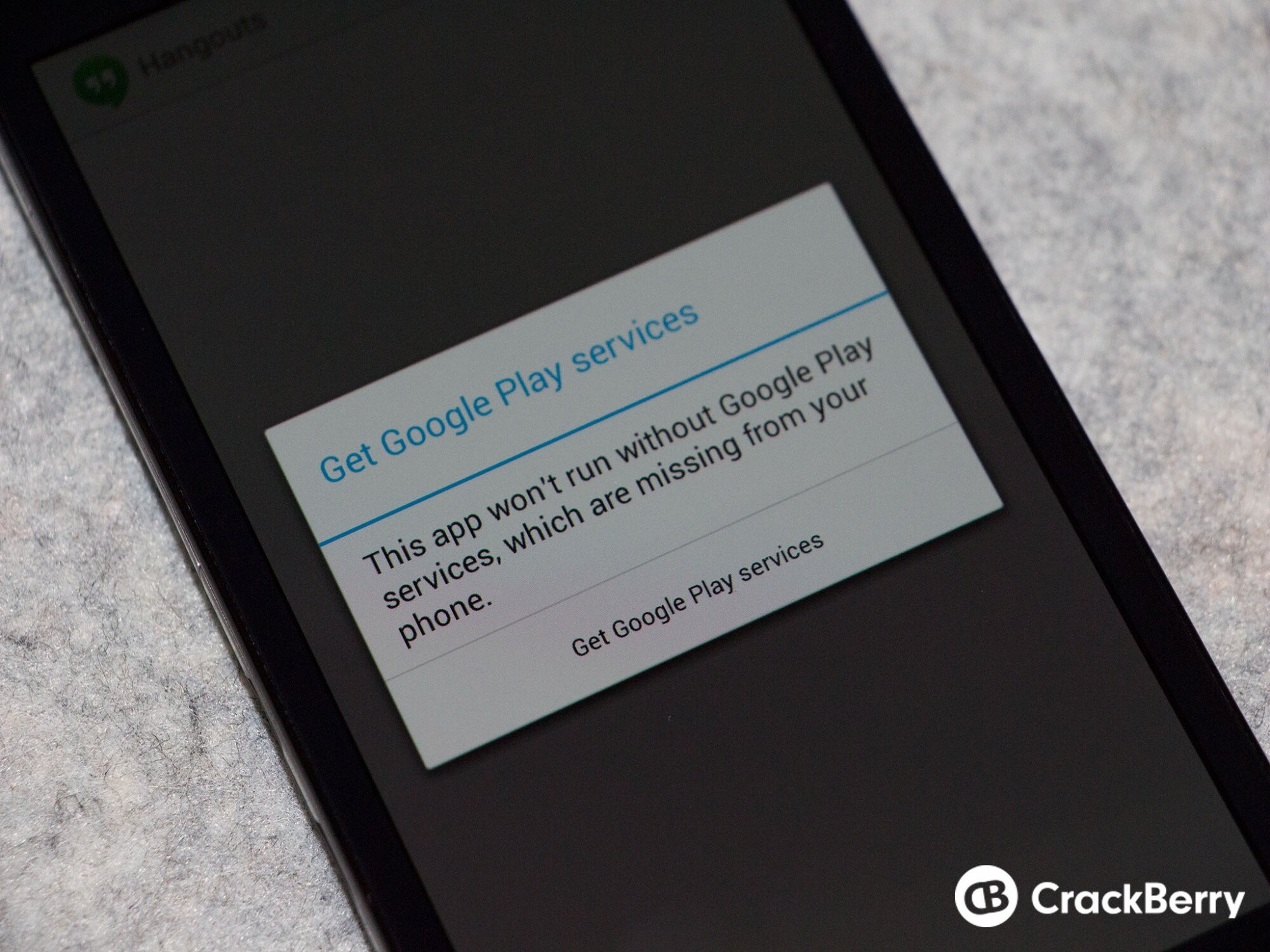 This app won't run without Google Play services error on