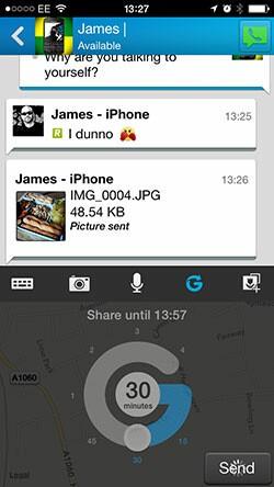 BBM 2.0 iOS Glympse