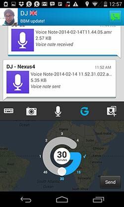 BBM 2.0 Glympse location sharing